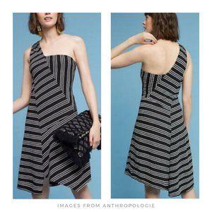 Maeve ▪ Moka One Shoulder Striped Dress